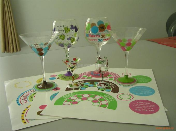 Professional Custom Wine Glass Decals , Water Transfer Glass Cup Decals
